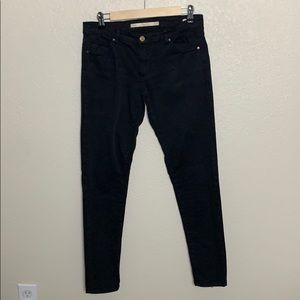 Zara Black Slim Fit Low Rise Jeans Ankle Zip Sz 6